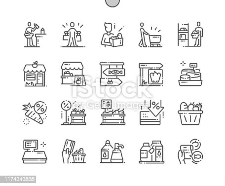 istock Grocery Well-crafted Pixel Perfect Vector Thin Line Icons 30 2x Grid for Web Graphics and Apps. Simple Minimal Pictogram 1174343835