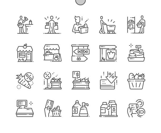 식료품 잘 만들어진 픽셀 완벽한 벡터 얇은 라인 아이콘 30 웹 그래픽 및 응용 프로그램을위한 그리드 2배. 간단한 최소한의 그림 - 바구니 stock illustrations