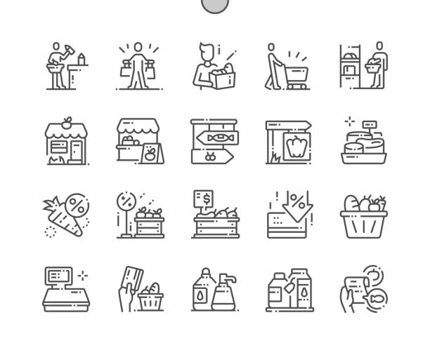 illustrazioni stock, clip art, cartoni animati e icone di tendenza di grocery well-crafted pixel perfect vector thin line icons 30 2x grid for web graphics and apps. simple minimal pictogram - supermarket
