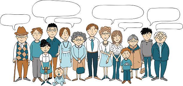 großfamilie mit sprechblasen - 親族会点のイラスト素材/クリップアート素材/マンガ素材/アイコン素材