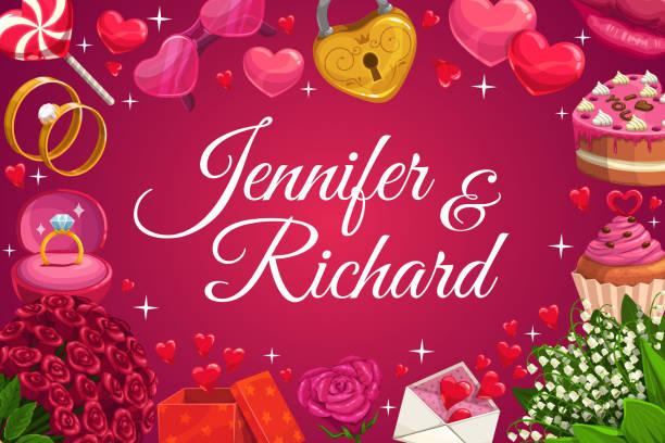 illustrazioni stock, clip art, cartoni animati e icone di tendenza di nomi di spose e spose, simboli d'amore del giorno del matrimonio - box name