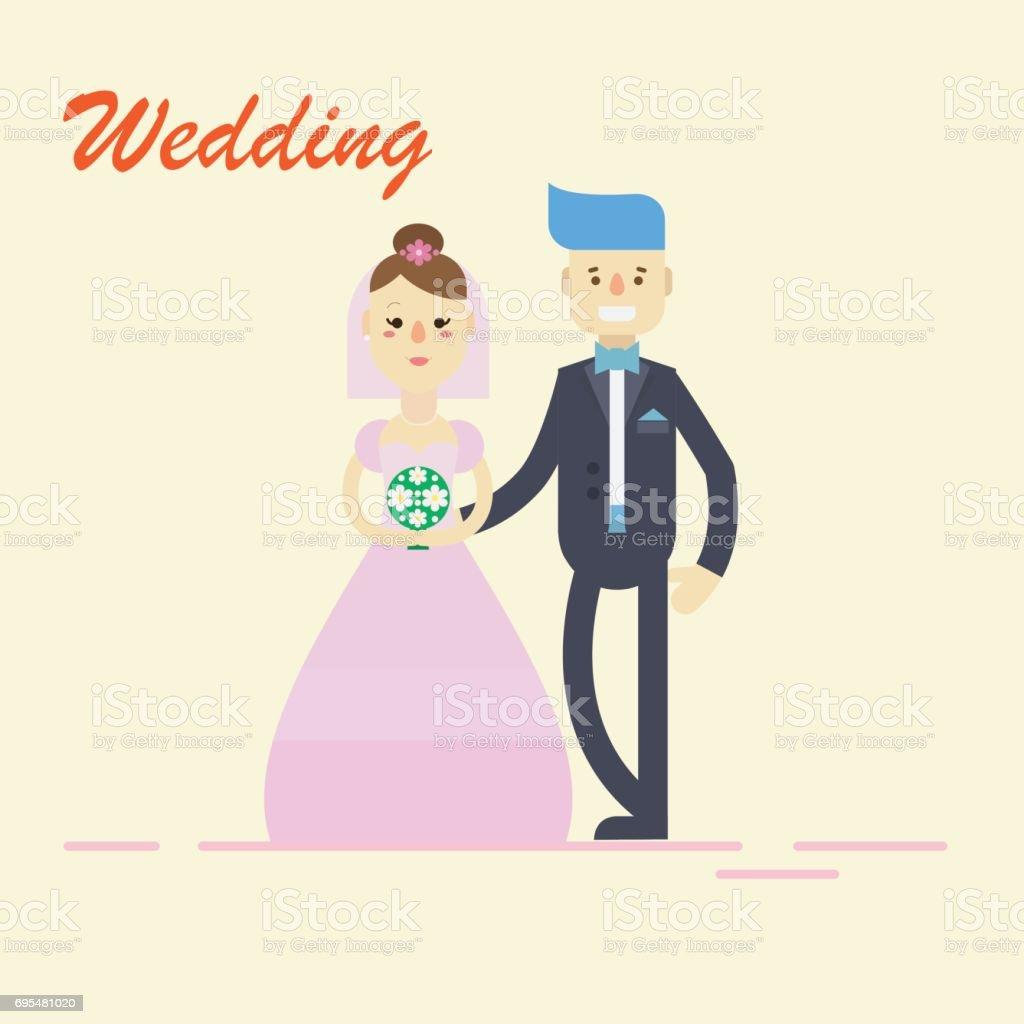 Groom And Bridecouple Holding Hands On Wedding Ceremony Vector ...