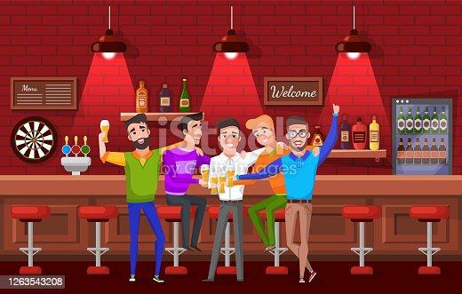 Novio y Amigos, Despedida de Soltero, Pub Vector