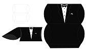Groom candy die box. Vector diy box template. Tuxedo - pillow wedding favor box.