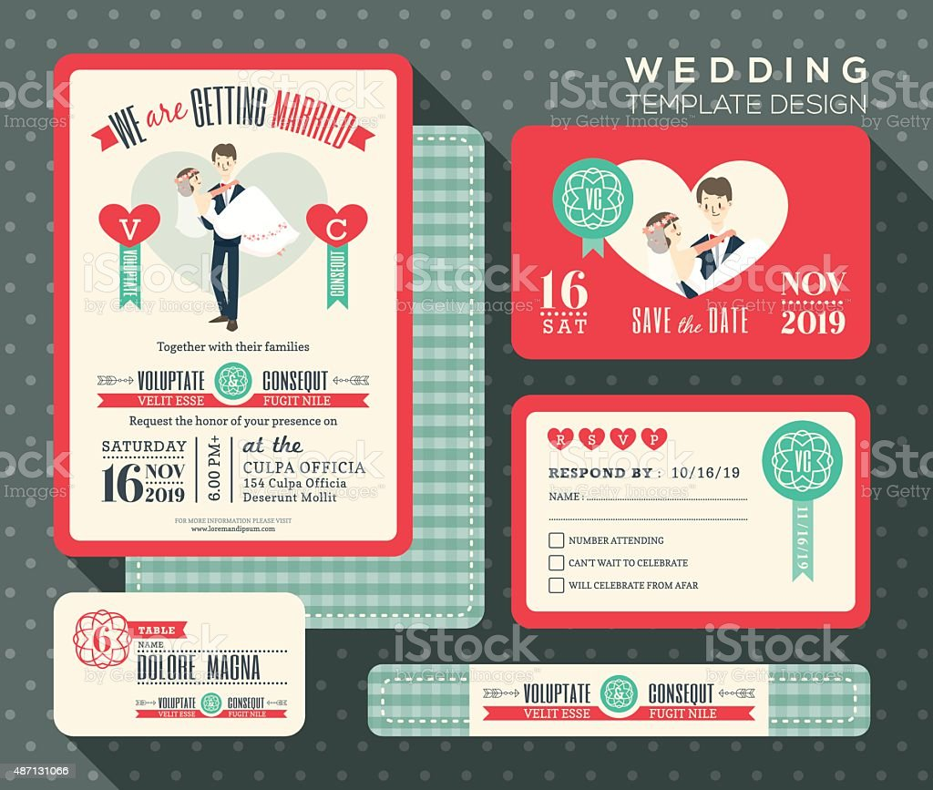Groom Carrying Bride Cartoon Retro Wedding Invitation Set Design ...