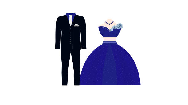 Groom cloths vector design with couple. vector art illustration