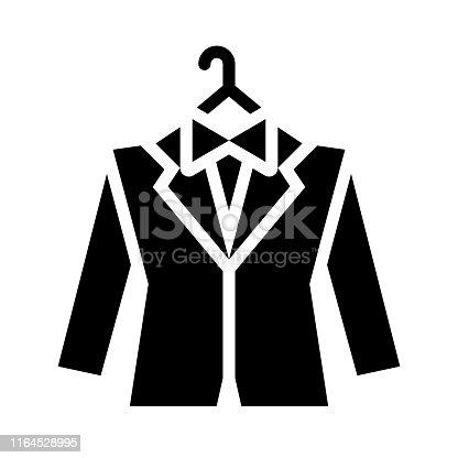 istock Groom dress vector, wedding related solid style icon 1164528995