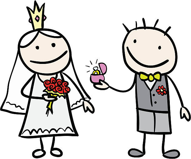 royalty free drawing of a wedding stick figures clip art vector