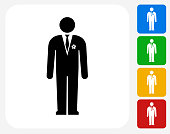 Groom Icon. This 100% royalty free vector illustration features the main icon pictured in black inside a white square. The alternative color options in blue, green, yellow and red are on the right of the icon and are arranged in a vertical column.