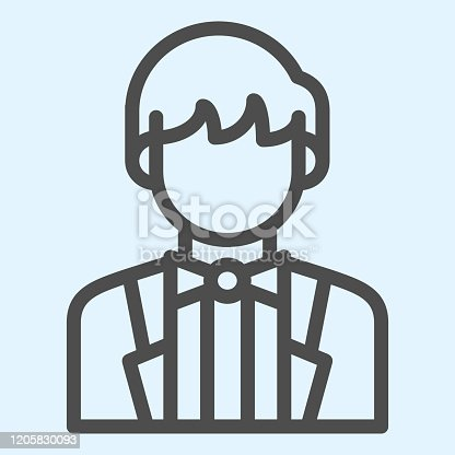 istock Groom line icon. Newly married man in black jacket. Wedding asset vector design concept, outline style pictogram on white background, use for web and app. Eps 10. 1205830093