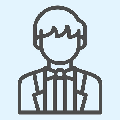 Groom line icon. Newly married man in black jacket. Wedding asset vector design concept, outline style pictogram on white background, use for web and app. Eps 10.