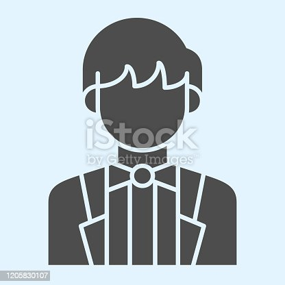istock Groom solid icon. Newly married man in black jacket. Wedding asset vector design concept, glyph style pictogram on white background, use for web and app. Eps 10. 1205830107