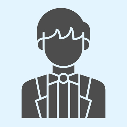 Groom solid icon. Newly married man in black jacket. Wedding asset vector design concept, glyph style pictogram on white background, use for web and app. Eps 10.