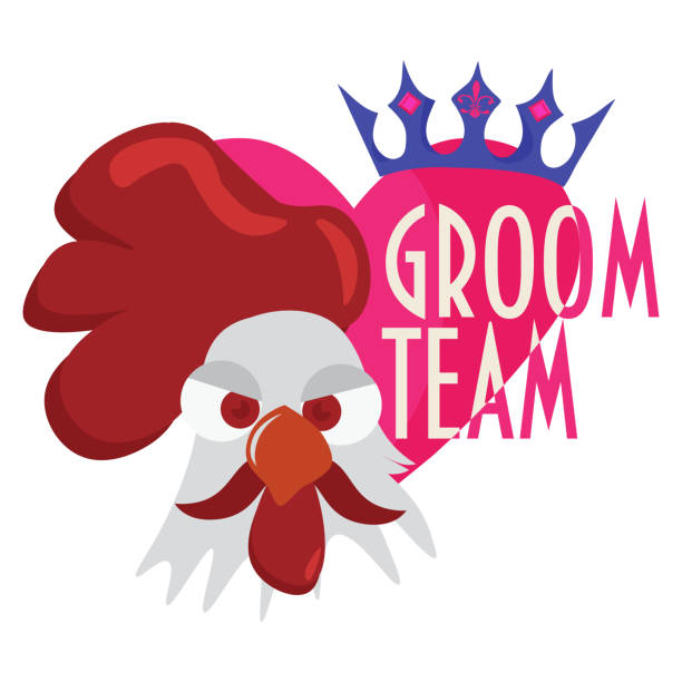 groom team trendy vector illustration. great for wedding, bachelor or stag party, groom shower. groom team seal or print template. - bachelor party stock illustrations, clip art, cartoons, & icons