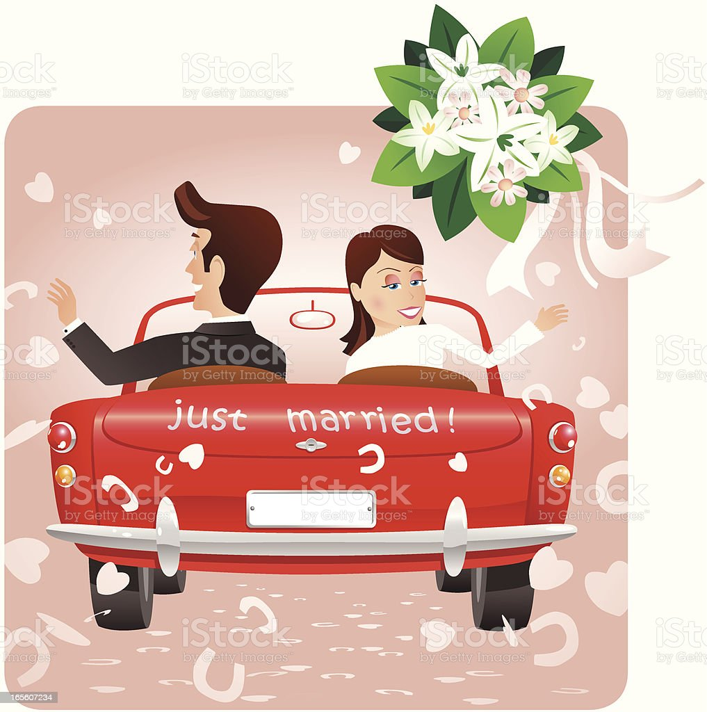 Groom with bride throwing bouquet from car vector art illustration