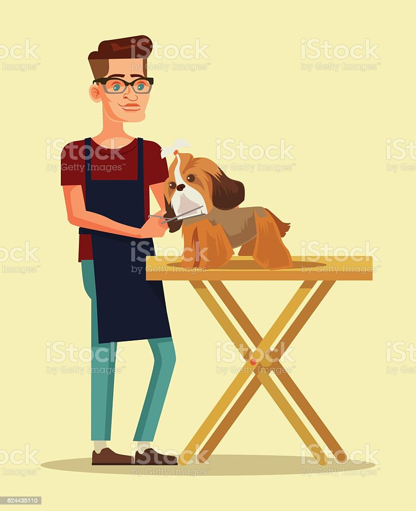 Groomer character combs dog character vector art illustration
