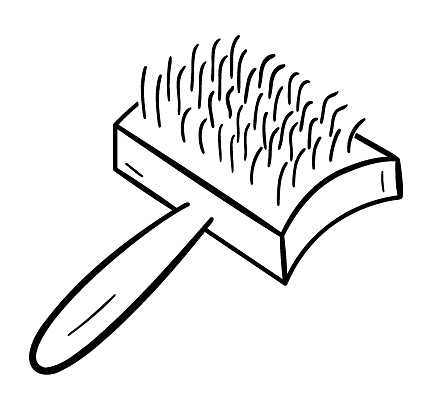 Groomer tool for combing pet hair. Isolated doodle drawing, one object on a white.