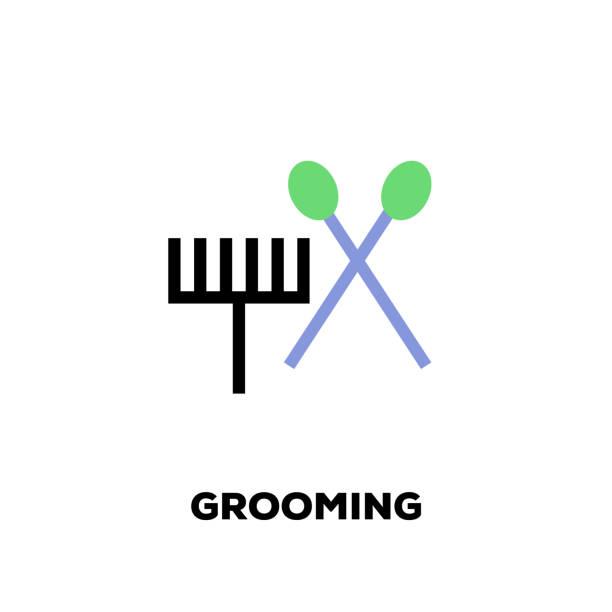grooming liniensymbol - hundehaarbögen stock-grafiken, -clipart, -cartoons und -symbole