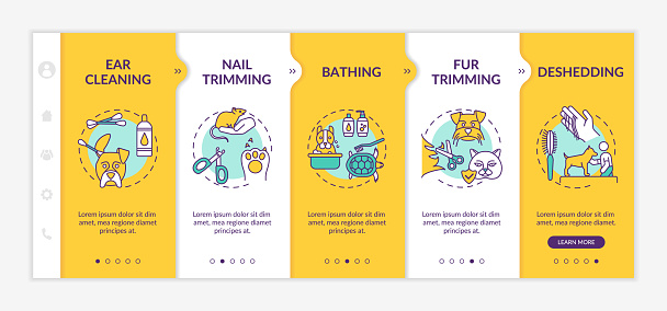 Grooming services types onboarding vector template