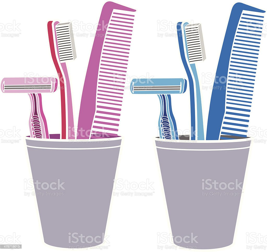 grooming supplies in a cup royalty-free grooming supplies in a cup stock vector art & more images of adult
