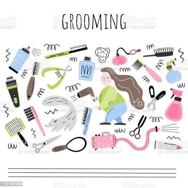 Grooming vector set of objects and elements in flat style vector id1151892966?b=1&k=6&m=1151892966&s=612x612&h=vygc0tyrm0zddtlhqq8bjmqab7 ngx0s3dbu8j0fklg=