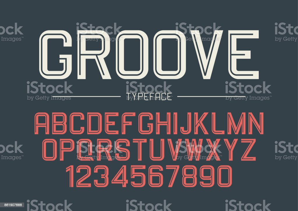 Groove vector decorative bold font design, alphabet, typeface, t vector art illustration