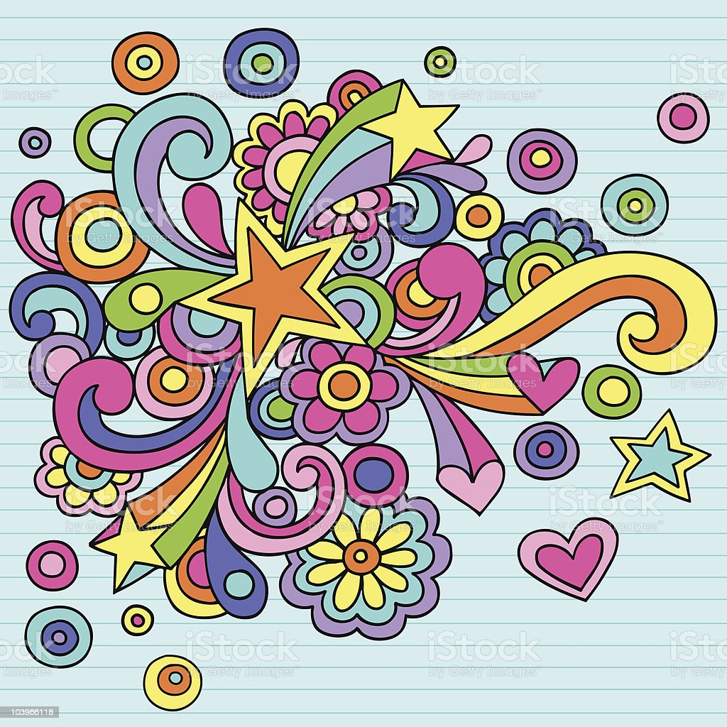 Groovy colorful animated notebook style doodles vector art illustration