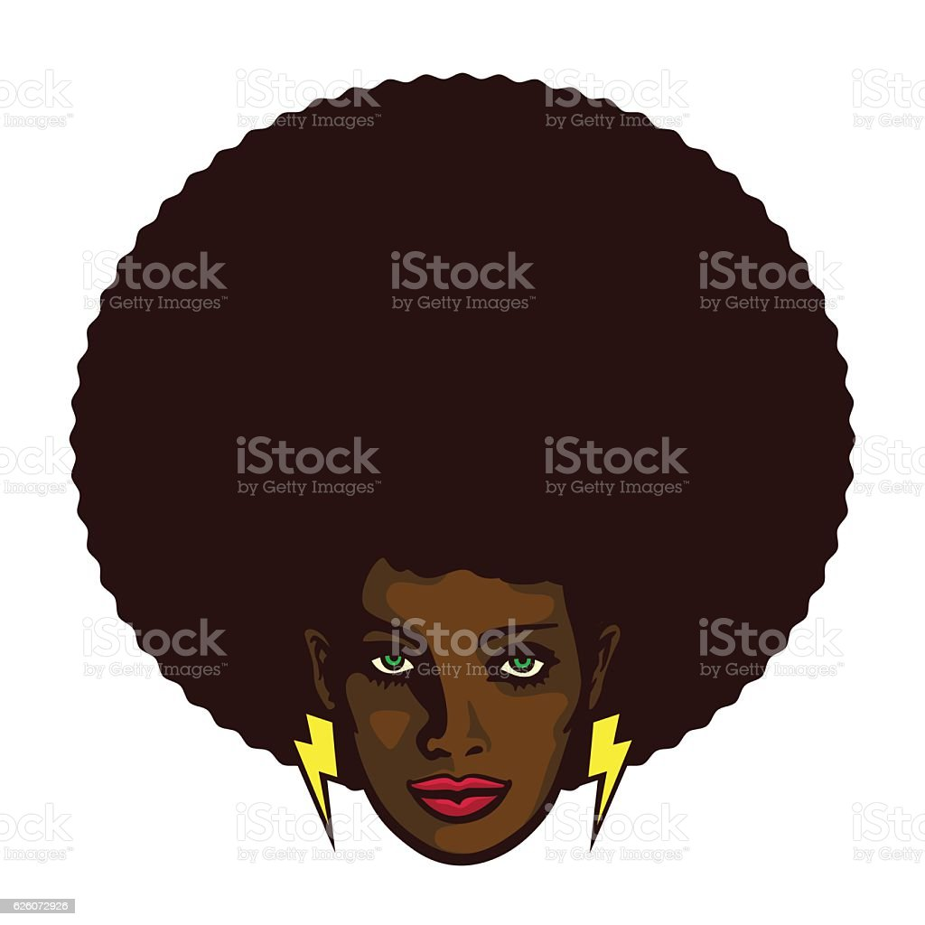 Groovy cool black woman face with afro hair vector illustration - ilustración de arte vectorial