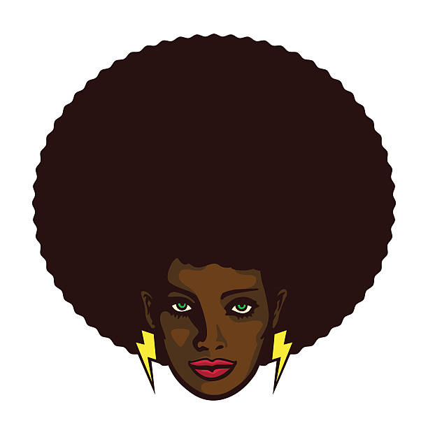 Groovy cool black woman face with afro hair vector illustration - ilustração de arte vetorial