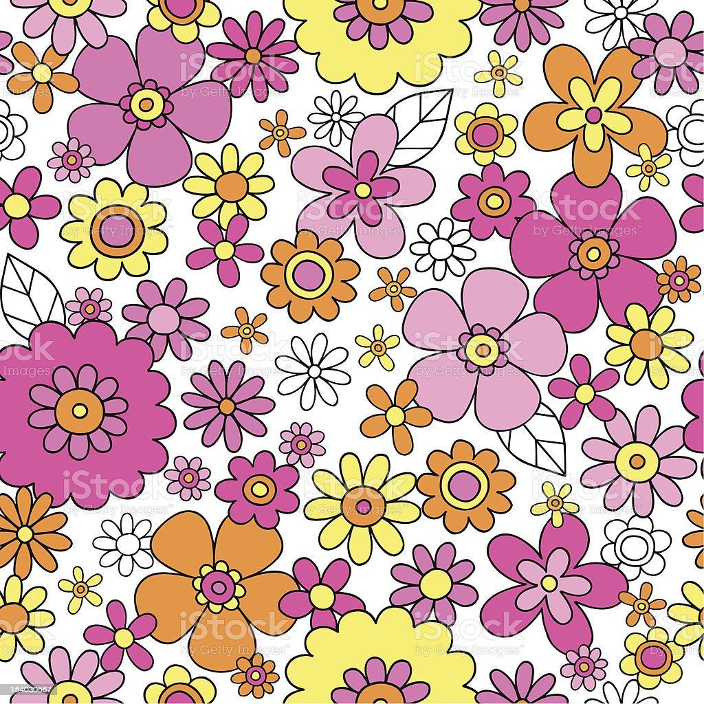 Groovy Flowers Seamless Pattern Vector Background vector art illustration