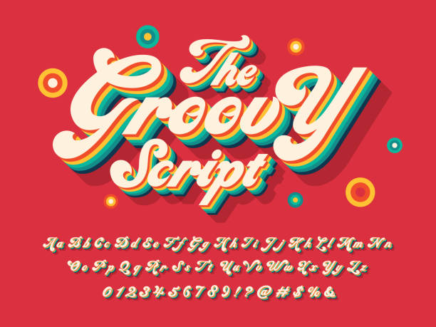 groovy font A groovy hippie style alphabet design cool attitude stock illustrations