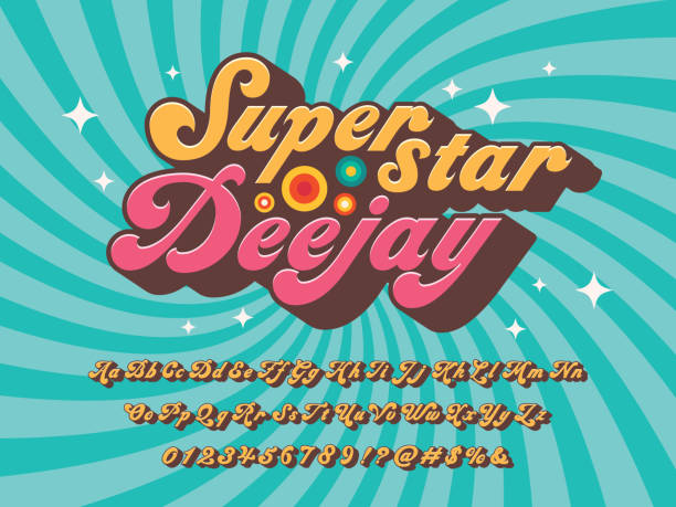 groovy font A groovy hippie style alphabet design alphabet designs stock illustrations