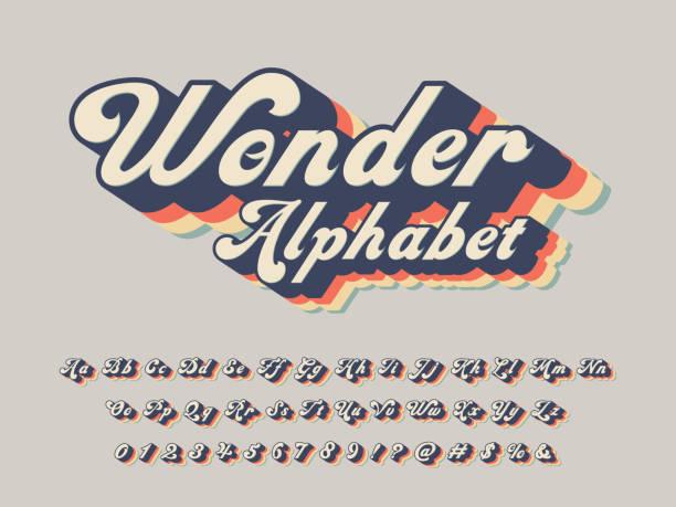 stockillustraties, clipart, cartoons en iconen met groovy lettertype - retrostijl