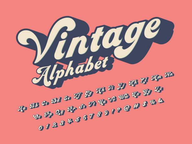 groovy font Vector of groovy hippie style alphabet design cool attitude stock illustrations