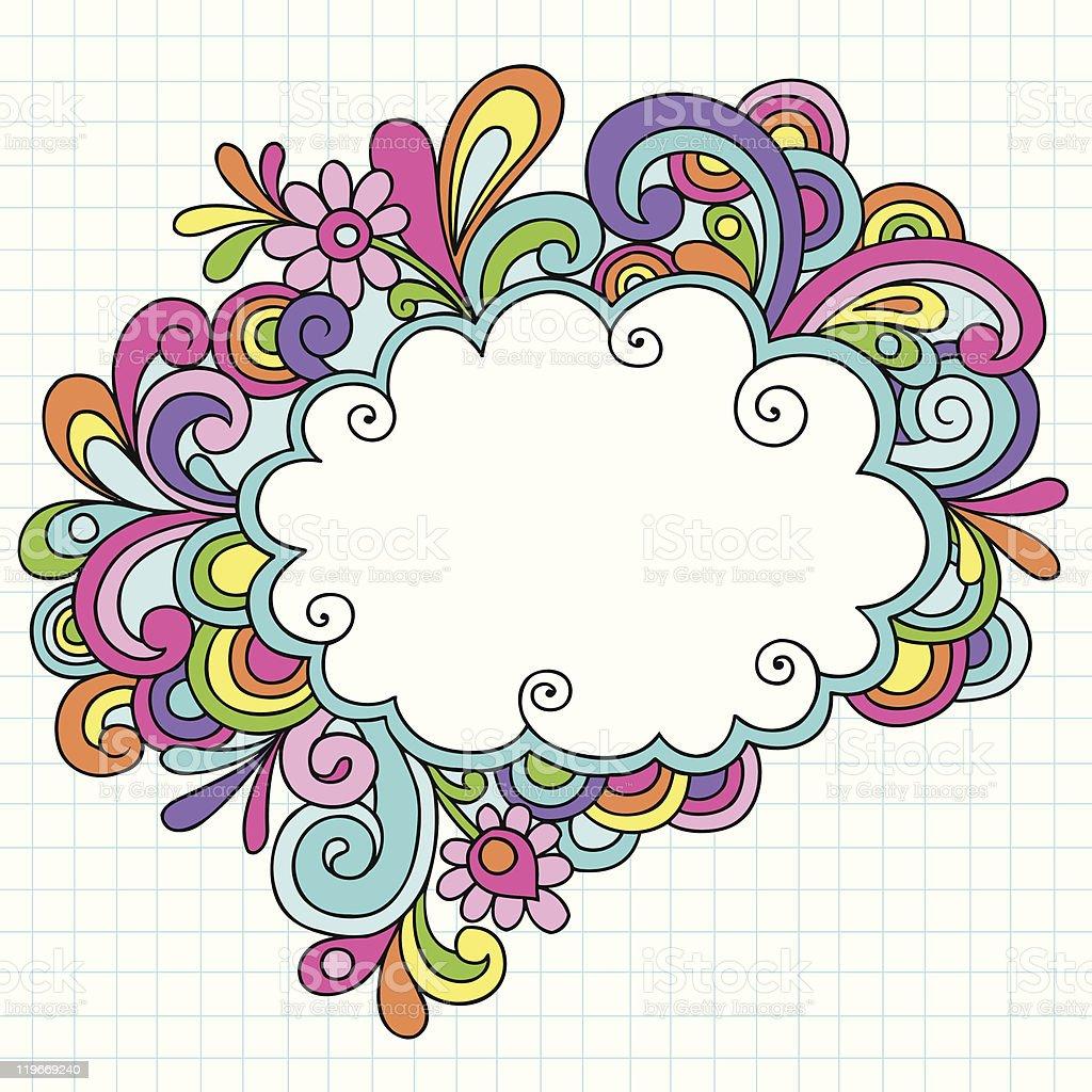 Groovy Notebook Doodle Cloud Frame vector art illustration