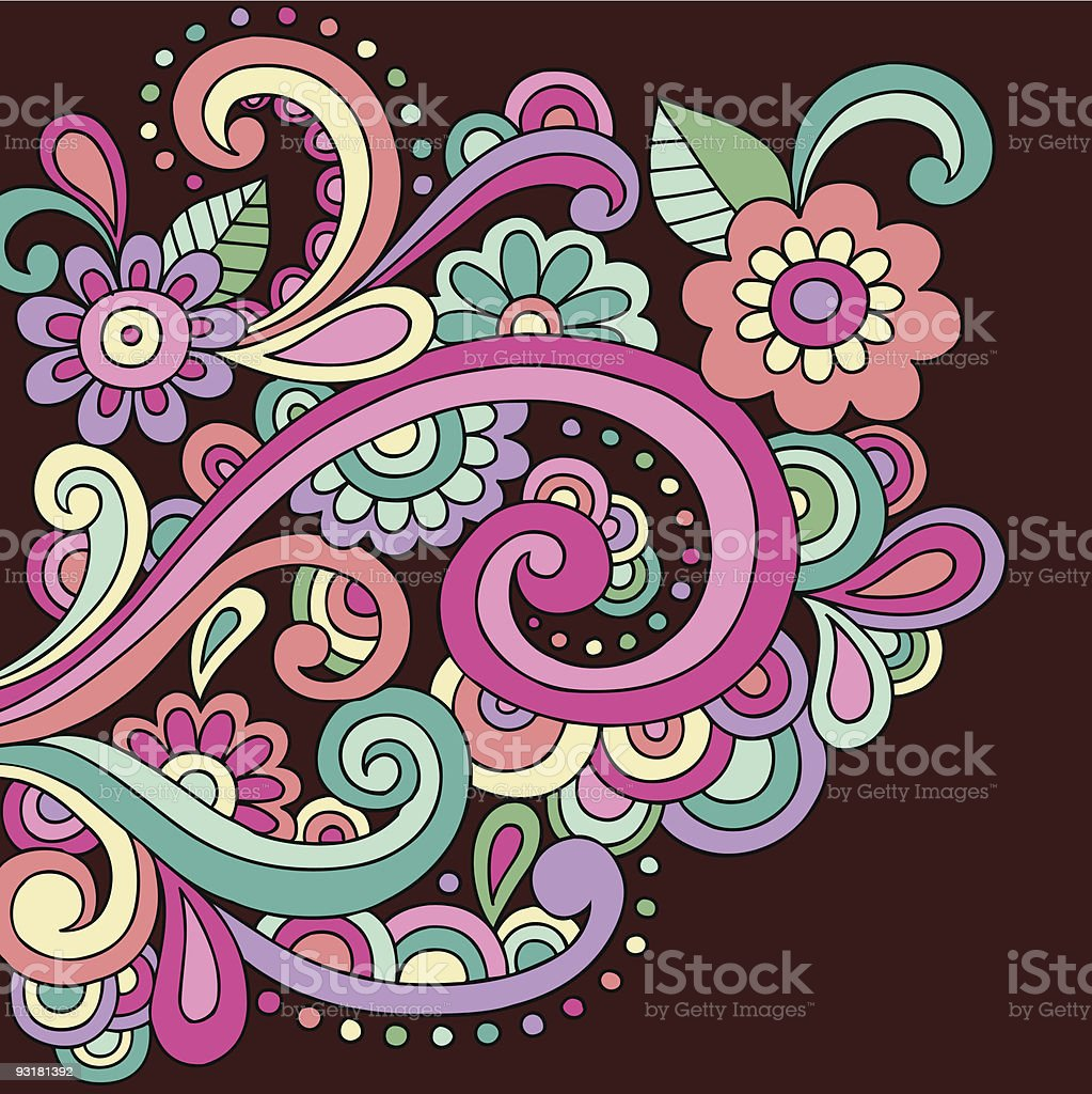 Groovy Psychedelic Abstract Paisley Doodle vector art illustration