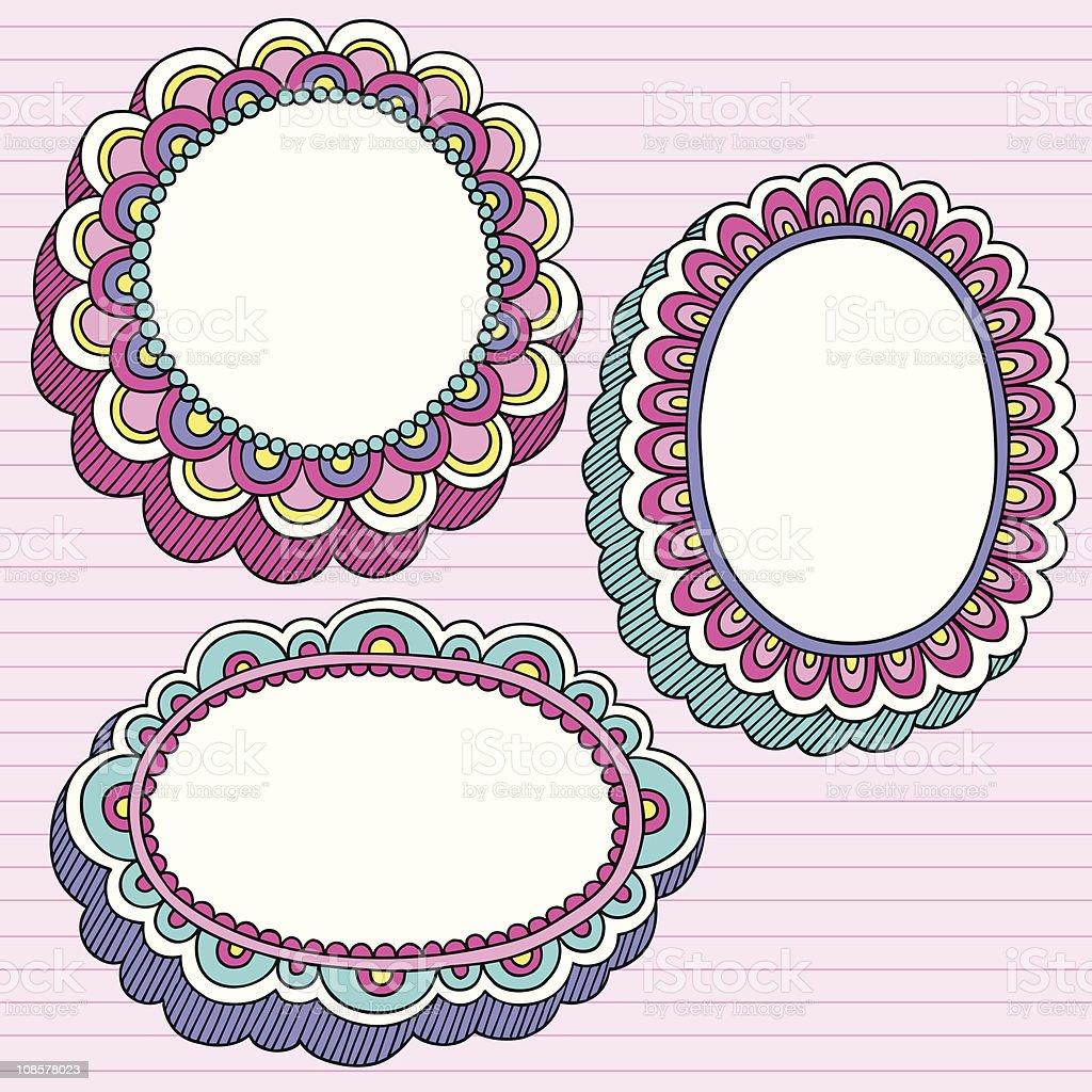 Hand-drawn Retro Groovy Notebook Doodles Circluar Frames. Vector...