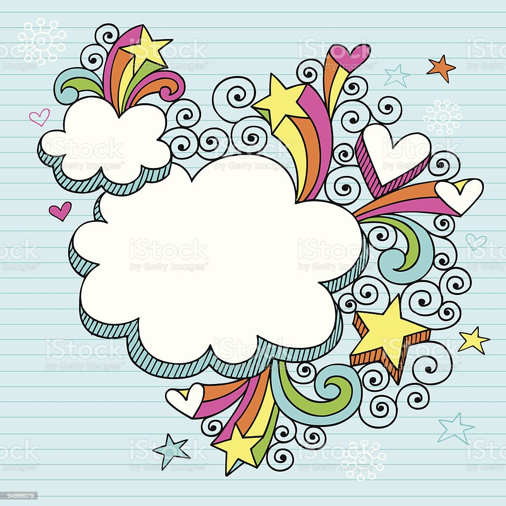 Groovy Psychedelic Cloud Notebook Doodles vector art illustration