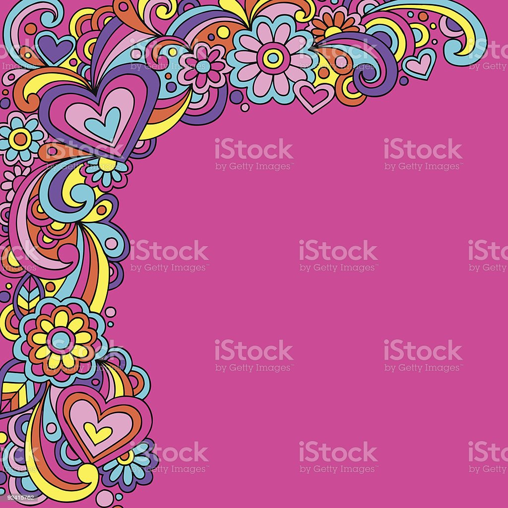 Groovy Psychedelic Hears and Flowers Vector vector art illustration