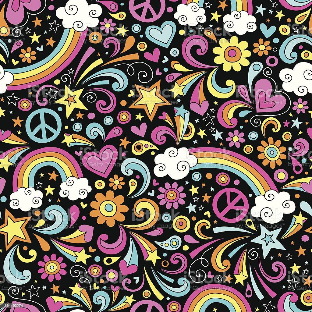 Groovy Rainbow Seamless Pattern Vector Background vector art illustration