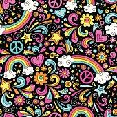 Groovy Rainbow Seamless Pattern Vector Background