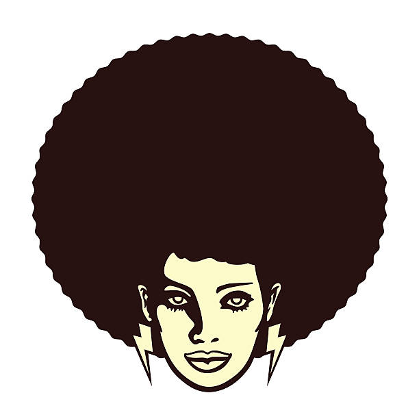 Groovy woman face with afro hairstyle vector illustration - ilustração de arte vetorial
