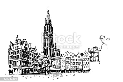 Vector sketch of  Famous fountain with Statue of Brabo in Grote Markt square in Antwerpen, Belgium.