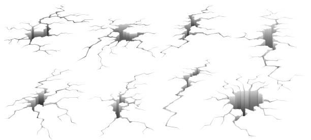 pęknięcia gruntu. trzęsienie ziemi pęknięcie, efekt otworu i pęknięty powierzchni izolowanej wektora ilustracji zestaw - popękany stock illustrations