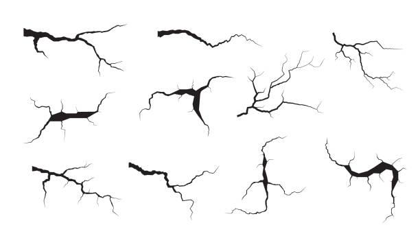 zestaw pęknięć gruntu. trzęsienie ziemi i pęknięcia gruntu, efekt dziury, craquelure i uszkodzona tekstura ściany. ilustracje wektorowe mogą być używane do tematów trzęsienie ziemi, awaria, zniszczenie - popękany stock illustrations