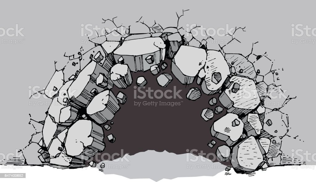 Ground Level Hole Breaking Through Wide Wall vector art illustration
