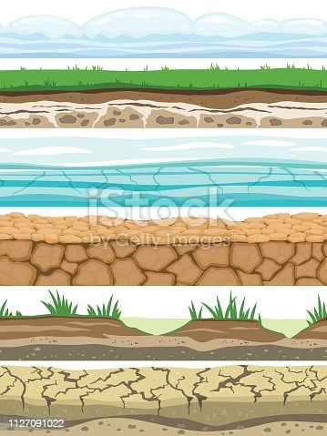 Ground seamless levels. Desert grounded land soil ice grass texture water stone surfaces. Game ui vector set