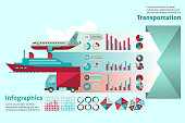 Transport paper infographic set with water ground air vehicle elements vector illustration