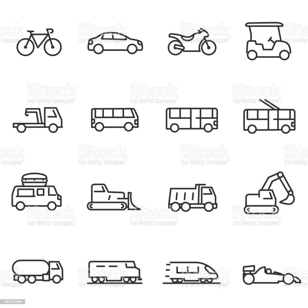 Ground transportation icons set. Line with Editable stroke Ground transportation icons set, linear design. Line with Editable stroke Bicycle stock vector