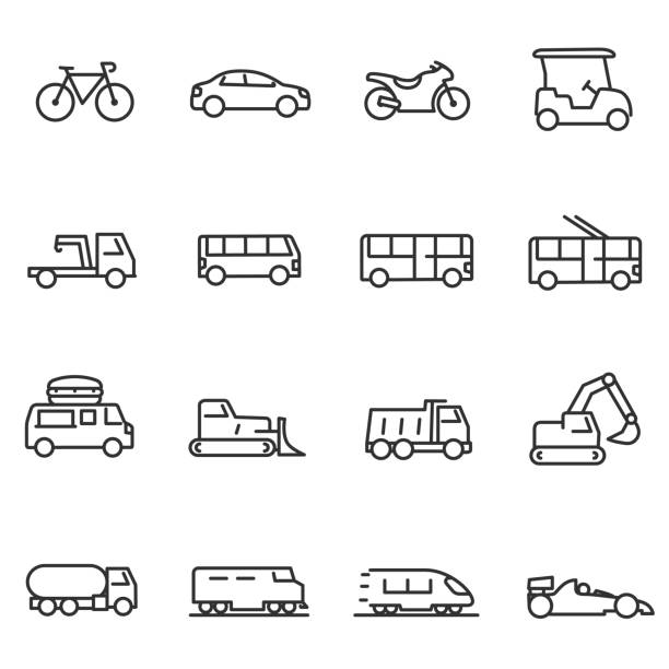 illustrazioni stock, clip art, cartoni animati e icone di tendenza di ground transportation icons set. line with editable stroke - automotive